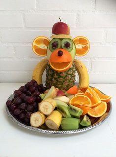 """Monkey Food"" - Kreamors Küche - Gesund - Mary's Secret World - Cute Food, Good Food, Monkey Food, Monkey Monkey, Party Food Buffet, Fruit Buffet, Fruit Creations, Food Art For Kids, Food Kids"