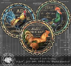 Rooster 2 Inch  Chalkboard Circles Digital Collage Sheet