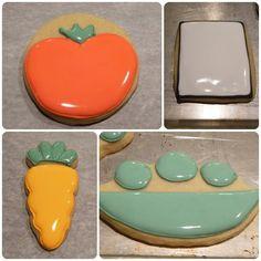 Olha que graça esses cookies de vegetais! Para ficarem assim super lisinhos e perfeitos é que se usa a técnica de flooding. Bridget Edwards, autora do blog Bake at 350° e minha convidada especial e…