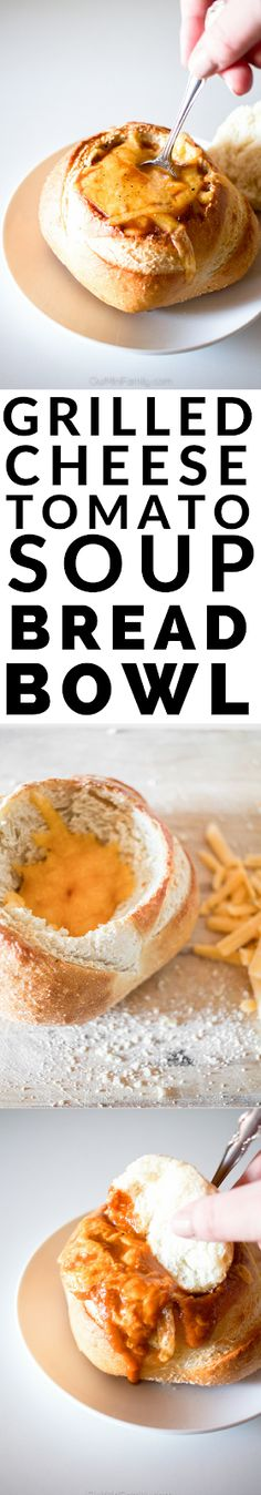 Nothing says comfort food like this tomato soup grilled cheese bread bowl!