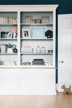 In Built Shelving - Victorian Villa Sitting Room Painted In Farrow & Ball Stifkey Blue Kitchen Sink Design, Home Decor Kitchen, Oval Room Blue, Blue Lounge, Farmhouse Style Table, Painted Cupboards, Edwardian House, Front Rooms, Living Room Colors