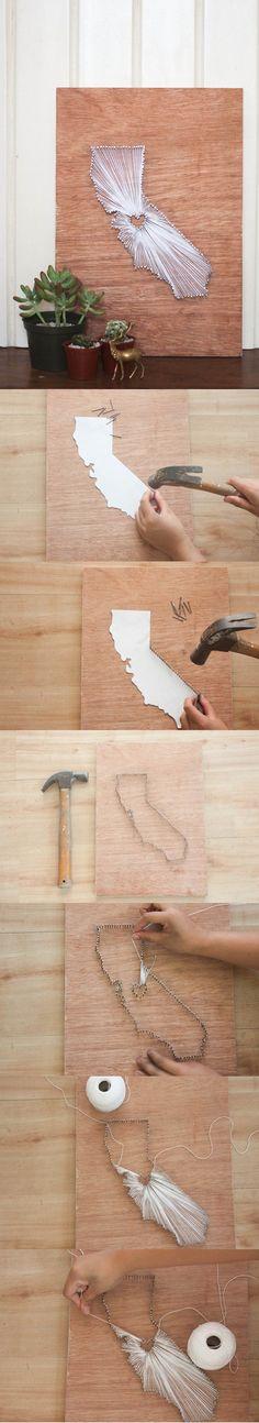 Creative DIY String Wall Art Ideas   https://diyprojects.com/diy-wall-art-you-can-make-in-under-an-hour/