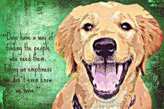 Golden Retriever Dog Digital Art Print With Quote
