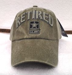 8246317bf5550b US ARMY RETIRED STAR LOGO Military Veteran STONE WASHED OD Hat 6495 MTEC |  eBay