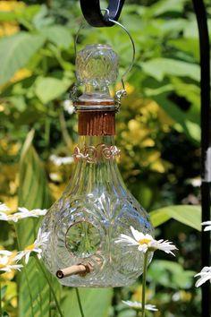Artistic recycled glass bird feeder by susanallisondiaz1 on Etsy, $45.00
