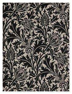 yama-bato: Sanderson William Morris Wallpaper, Thistle DMOWTH103, Black via