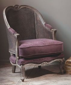 french caned chair in purple...upholstrying is a fun DIY I enjoy-the moe difficult the better...
