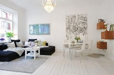 Small Apartment room Decoration 2 Small Apartment Room Decoration with White Interior Swedish Interior Design, Swedish Interiors, Simple Interior, Living Room White, Home And Living, Small Space Bedroom, Hall Furniture, Living Room Sectional, Interior Inspiration