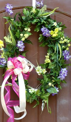 Oval grapevine Spring/Summer Wreath by Atifahscreations on Etsy