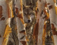 """Realistic Mixed Media Painting: """"The Guardian"""" by Colin Bogel Wolves - """"The Guardian"""""""
