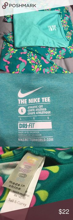 LuLaRoe Leggings and Shirt LuLaRoe leggings and Nike shirt.  To be sold as a set, not individually. The Nike shirt is DriFit and the size is Large. The information below pertains to the leggings; which is a size T&C. LuLaRoe Pants Leggings