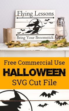 Free commercial use Halloween 'Flying Lessons' witch SVG cut file for Silhouette Cameo or Cricut Explore or Maker. Halloween Fonts, Halloween Vinyl, Halloween Silhouettes, Halloween Signs, Halloween Projects, Halloween Stuff, Free Halloween Printables, Halloween Ideas, Happy Halloween