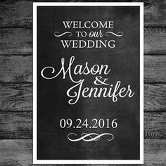 Custom Welcome to Our Wedding Sign Chalkboard or Any Color 24x36 | eBay
