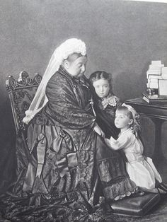 "Queen Victoria with her granddaughters, Alice of Albany and Margaret of Connaught (""Daisy"")."