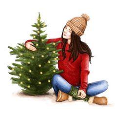 Christmas Fashion Illustration Digital by AGizemIllustration - Christmas Drawings 🎅 Christmas Colors, Christmas Art, Winter Christmas, Vintage Christmas, Etsy Christmas, Xmas, Illustration Sketches, Digital Illustration, Illustration Fashion