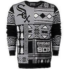 new arrival 67679 84e23 Chicago White Sox Klew Patches Ugly Sweater - Black Black Sweaters, Ugly  Sweater, Sweater
