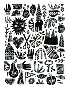 Archival print of hand drawn, folk inspired design. 11x14 inches, black on white.    Archival inks, printed on archival acid free paper.    Signed