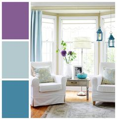 Shades of blue and purple are analogous on the color wheel – temper neighboring hues of vivid orchid and bright turquoise with a soft gray blue for a balanced approach.