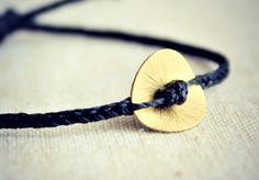 Black Braided Friendship Bracelet with 18mm Gold Brass Coin / Unisex bracelet