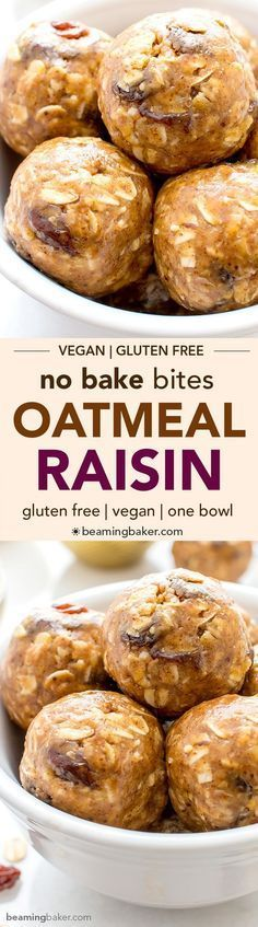 No Bake Oatmeal Raisin Bites (V+GF): A super easy, one bowl recipe for healthy energy bites bursting with oatmeal raisin cookie flavor. #Vegan #GlutenFree   BeamingBaker.com