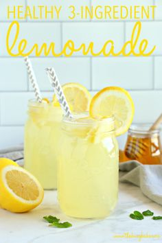 Healthy Lemonade ~ is a delicious all natural summer drink that's free of refined sugars and made with only 3 simple ingredients! Homemade Lemonade Recipes, Lemon Recipes, Simple Lemonade Recipe, Lemonade With Honey, Sugar Free Lemonade Recipe, Sugar Free Drinks, Healthy Cocktails, Non Alcoholic Drinks, Recipes