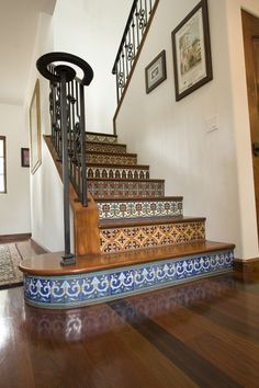 Unusual Staircase Design Ideas - Spanish Tiles & Wood