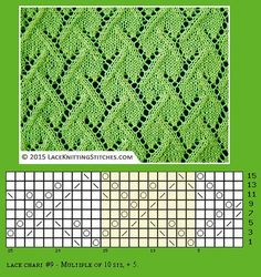 Techniques used: - K: Knit on RS and purl on WS. Lace Knitting Stitches, Lace Knitting Patterns, Knitting Charts, Lace Patterns, Stitch Patterns, Free Knitting, Crochet Socks, Knitting Socks, Knitting Projects