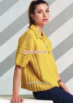 На каждый день. Яркий желтый пуловер с воротником и застежкой поло. Вязание спицами