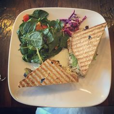 "The #bombdotcom UNtuna melt and spinach bean salad! I'm in love with ""the best vegan cafe in Los Angeles"" . #huffonthat #vegan #veganfood"