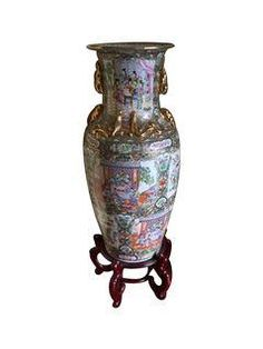 Large Asian Floor Vase With Stand on Chairish.com