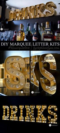 """Marquee Letters """"GTC BAR"""" on one of the walls? Marquee Love, Diy Marquee Letters, Marquee Lights, Gold Letters, Diy Luz, Luminaria Diy, Ikea Regal, Buffets, Diy Furniture"""