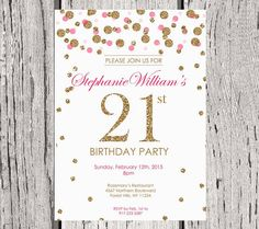 21st Birthday Invitation White Gold Glitter Party Invite Adult Polka