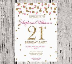 Items Similar To 21st Birthday Invitation White Gold Glitter Party Invite Adult Polka Dot Elegant Printable Digital DIY On Etsy