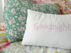 Vintage Handmade Goodnight Heart Pillow Set by AFeteBeckons, $20.00