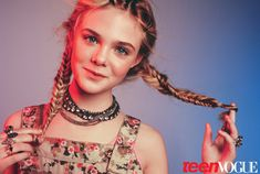 """Elle Fanning in a photo shoot for """"Teen Vogue"""" magazine, hair braided by Didier Malige. Fishtail Braid Hairstyles, Twist Hairstyles, Celebrity Hairstyles, Hairdos, Updo Hairstyle, Braided Updo, Prom Hairstyles, Teen Vogue, Dakota And Elle Fanning"""