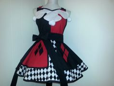 This is so cute! I'd hate to bake in it and ruin it, though!! Harley Quinn inspired apron. by ShenanaginsHallow on Etsy, $85.00