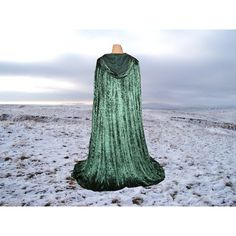 Halloween Cape Cloak Fir Green Hooded Velvet Renaissance Medieval... (100 AUD) ❤ liked on Polyvore featuring costumes, cloaks, renaissance costumes, prom costume, green halloween costumes, renaissance halloween costume and green costumes