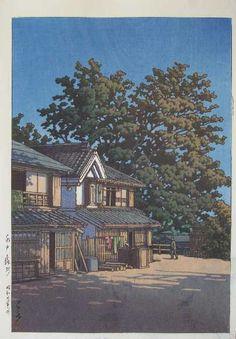 Kawase Hasui,Todoroki, Mito(Mito Todoroki-chō) / 水戸轟町 , Woodblock print,ink and color on paper,Date:1946,Vertical ōban,Hotei:P534 #481,<--- Yanagimachi,Mito city,Ibaraki prefecture, Japan --->