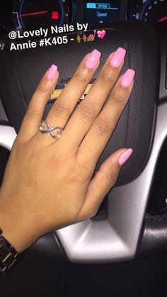 Soft Baby Pink coffin gel nails
