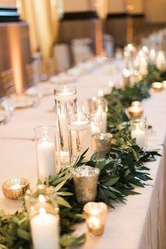 Wedding Cheap Wedding Decorations Which Look Chic ★ cheap wedding decorations candle and greenery table runner Cory Jackie White Flower Centerpieces, Wedding Centerpieces, Cheap Wedding Decorations, Table Decorations, Wedding Ideas, Floral Wedding, Wedding Colors, Color Of The Year 2017, White Candles