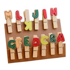 Set of 2 ZAKKA Cute[Alphabets Series]Wooden Binder Clip/Paper&Photo Clips/Clamps