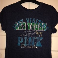 "Pink by Victoria's Secret Lounge Top Pink ""Just Visiting Las Vegas"" top.  Make me an offer!  I will not be offended and you may be pleasantly surprised!  Victoria's Secret Tops"
