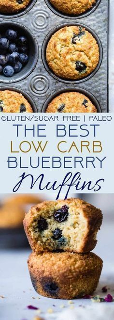 The BEST Low Carb, Sugar Free Blueberry Muffins - SO moist and tender, you'll never believe they are gluten/grain/dairy/sugar free and keto friendly! Perfect for breakfast or snacks for kids OR adults!   #Foodfaithfitness   #Lowcarb #Healthy #Glutenfree #Keto #Sugarfree