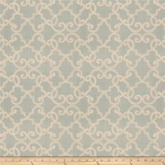 Fabricut Artistry Aqua from @fabricdotcom  This beautiful heavyweight fabric features a lattice / fretwork embroidery throughout. Perfect for draperies, swags, duvet covers, shams, toss pillows, and light upholstery projects.