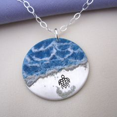 Almost There - enameled Sea Turtle Necklace in sterling silver - available on Etsy