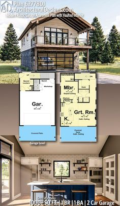 Plan Modern Rustic Garage Apartment Plan with Vaulted Interior Architectural Designs Home Plan gives you 1 bedrooms, 1 sq. plus a 2 Car Garage! Ready when you are! Where do YOU want to build? Garage Apartment Plans, Garage Apartments, One Bedroom Apartment, Apartment Ideas, Garage Loft Plans, Garage With Loft, Garage Studio Apartment, Garage Building Plans, Above Garage Apartment