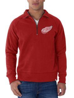 Detroit Red Wings 47 Brand Red Cross Check 1/4-Zip Pullover Sweatshirt