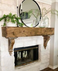 home decor quotes Fireplace Redo, Farmhouse Fireplace, Fireplace Remodel, Fireplace Design, Fireplace Ideas, Country Fireplace, Fireplace Mantles, Brick Fireplace, New Living Room