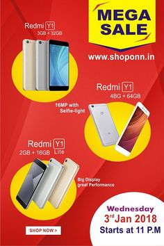 Now no more deleting selfies when you have the all-new Redmi Y1, because it's time to #LoveYourselfie..  This New Year 2018 #Shoponn Presents #Redmi Y1 #Mega Sale... Starts .. Wednesday 03/01/2018 At 11Am..  Shop Now.....  And Get Extra Rs.500/- Super cashback By using #Mobikwik Wallet.  Get #Redmi Y1 All Models  Any time is a good time for a selfie with Redmi Y1 #LoveYourselfie #Exciting Design #LED Selfie light #Super camera Quality  #Shoponn Deals #Online Shopping #Mega Sale 2018