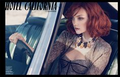 Hotel California – Heather Marks takes a turn as a redhead for the May issue of Marie Claire Italia as she takes a road trip that goes from desert to sea.
